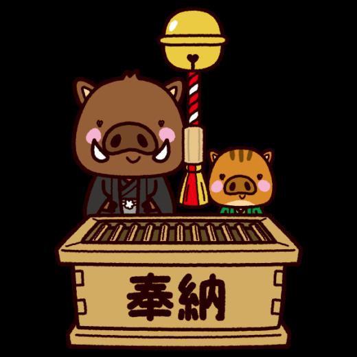 イノシシのイラスト(初詣・2019干支)