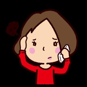 困って電話をする女性のイラスト