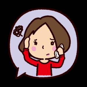 吹き出しのイラスト(困って電話をする女性)