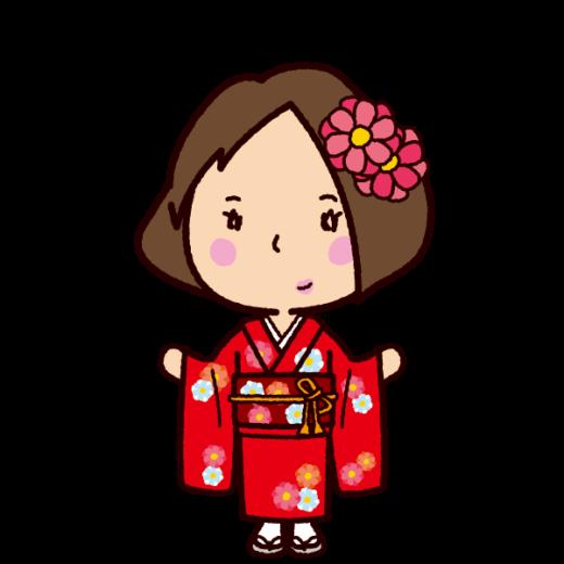 晴れ着のイラスト(女性・成人式)
