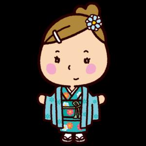晴れ着のイラスト(女の子・成人式・七五三)