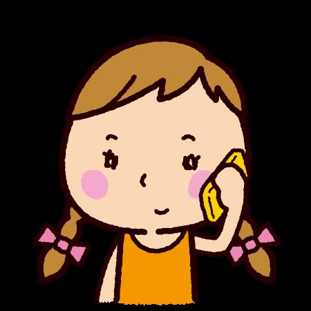 電話をする女の子のイラスト
