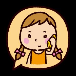 吹き出しのイラスト(電話をする女の子)