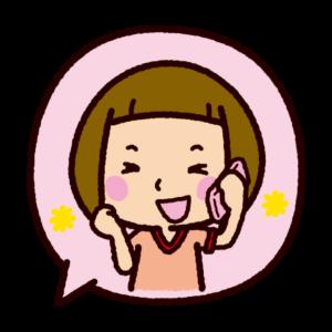 吹き出しのイラスト(楽しそうに電話をする女の子)