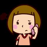 困って電話をする女の子のイラスト