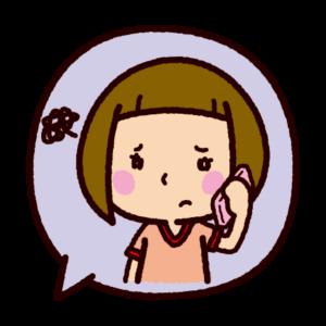吹き出しのイラスト(困って電話をする女の子)