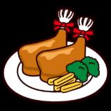 クリスマスチキンのイラスト(ローストチキン)
