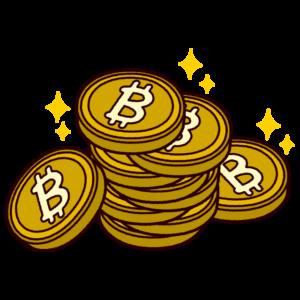 重ねたビットコインのイラスト