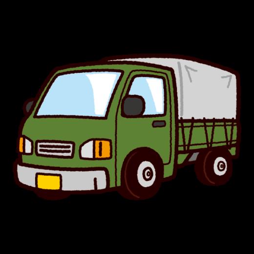 車のイラスト(幌付き軽トラック)(4カット)