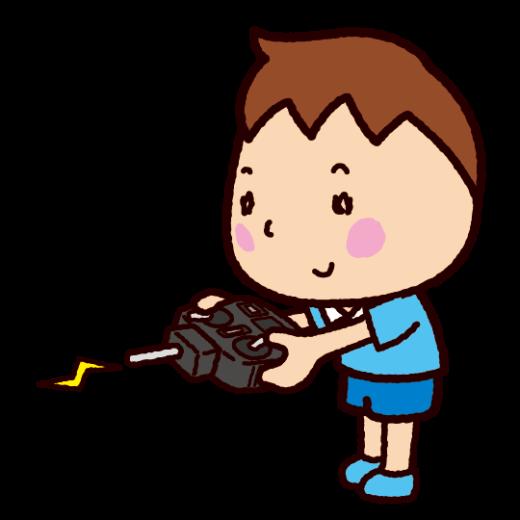 プロポ持つ子供のイラスト(ラジコン・ドローン)(5カット)
