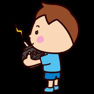 プロポ持つ子供のイラスト(ラジコン・ドローン)