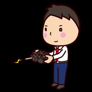 プロポ持つ男性のイラスト(ラジコン・ドローン)