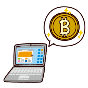 ビットコインのイラスト(組み合わせ例)