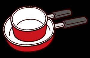フライパンと片手鍋の収納のイラスト