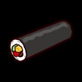 恵方巻きのイラスト(節分・巻き寿司)