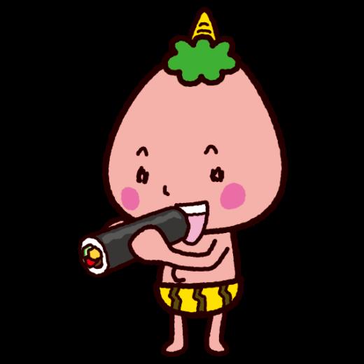 恵方巻きを食べる鬼のイラスト(節分)(2カット)