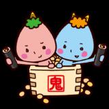 節分のイラスト(鬼と恵方巻きと福豆)