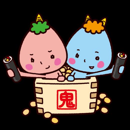 節分のイラスト(鬼と恵方巻きと福豆)(2カット)