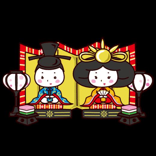 ひな人形のイラスト(ひな祭り・男雛・女雛)(8カット)