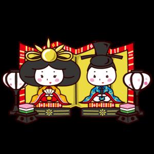 ひな人形のイラスト(ひな祭り・男雛・女雛)