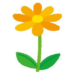 黄色い花のイラスト(茎・葉)(5カット)