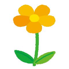 黄色い花のイラスト(茎・葉)