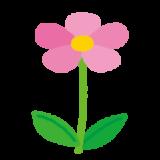 ピンクの花のイラスト(茎・葉)