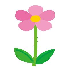ピンクの花のイラスト(茎・葉)(5カット)
