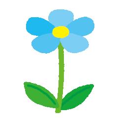 青い花のイラスト(茎・葉)