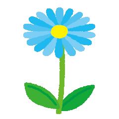青い花のイラスト(茎・葉)(5カット)