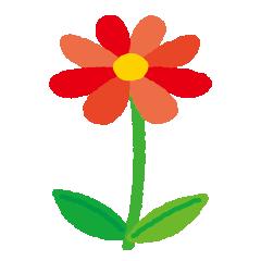 赤い花のイラスト(茎・葉)(5カット)