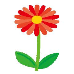 赤い花のイラスト(茎・葉)