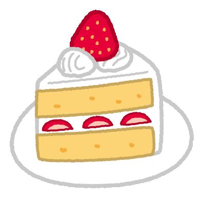 いちごのショートケーキのイラスト(3カット)