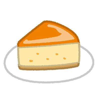 チーズケーキのイラスト(ベイクド・スフレ)(4カット)