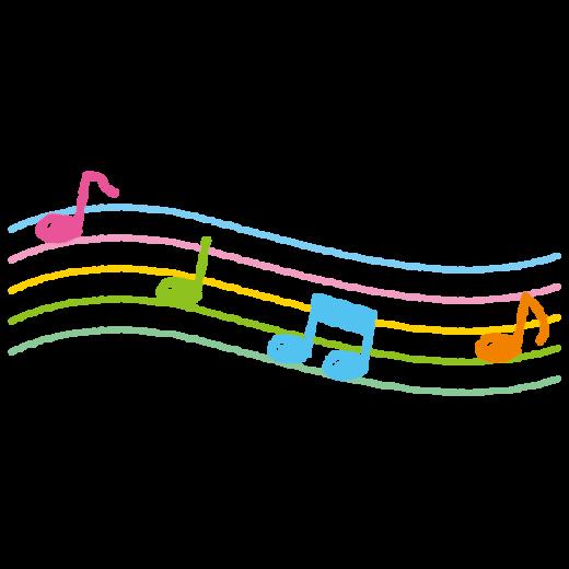 五線譜と音符のイラスト(2カット)