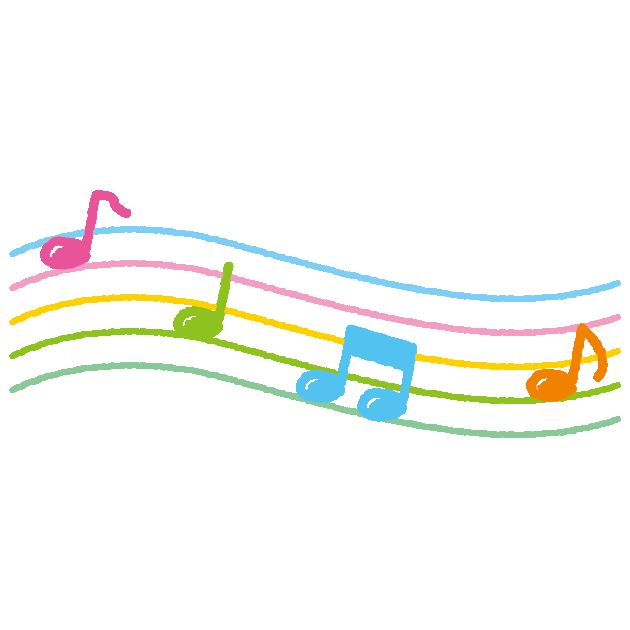 五線譜と音符のイラスト2カット イラストくん