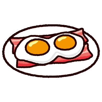 ベーコンエッグのイラスト(目玉焼き)(4カット)