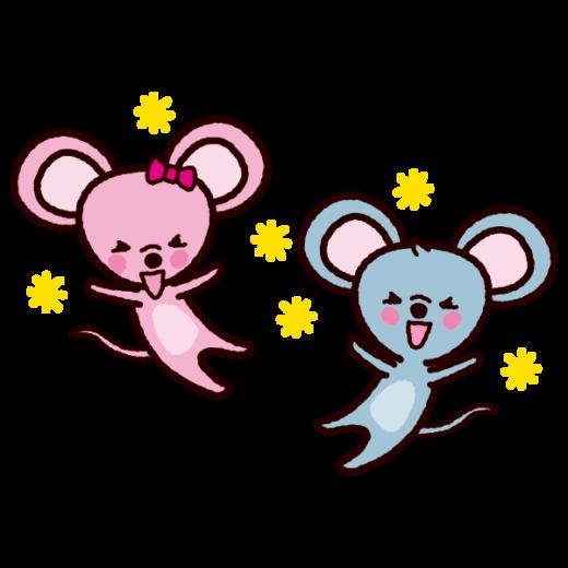 喜ぶイラスト(ネズミ、2020干支)(6カット)