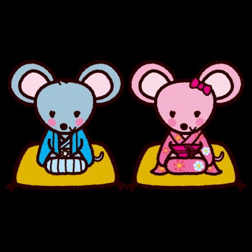 ネズミのイラスト(紋付袴・着物・2020干支)(6カット)