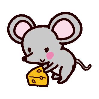 ネズミとチーズのイラスト(2020干支)(2カット)