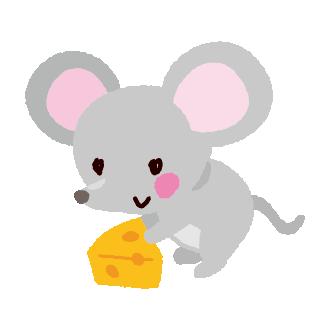 ネズミとチーズのイラスト2020干支2カット イラストくん