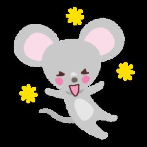 喜ぶイラスト(ネズミ)