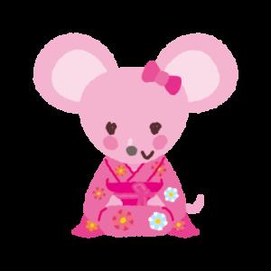ネズミのイラスト(紋付袴・着物)