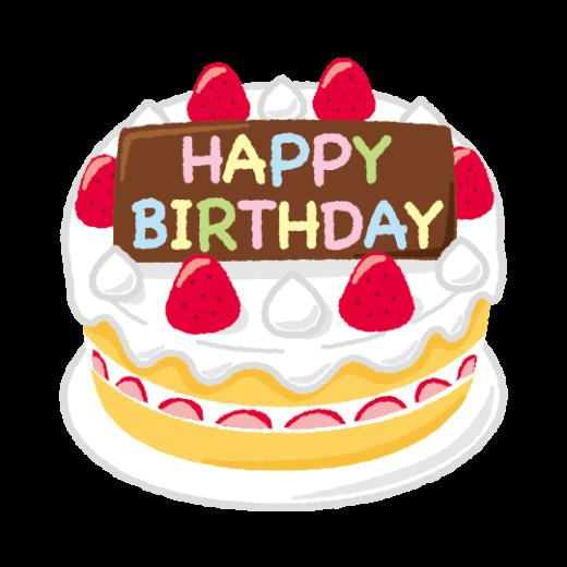 誕生日ケーキのイラスト(英語)(4カット)