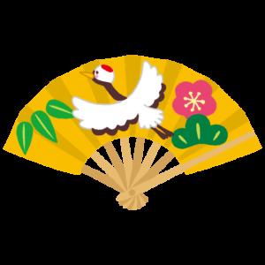 扇子のイラスト(縁起物・鶴松竹梅)