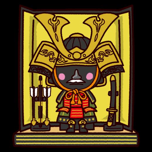 五月人形のイラスト(鎧兜セット・こどもの日)(2カット)
