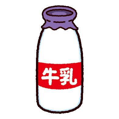 牛乳瓶のイラスト(4カット)