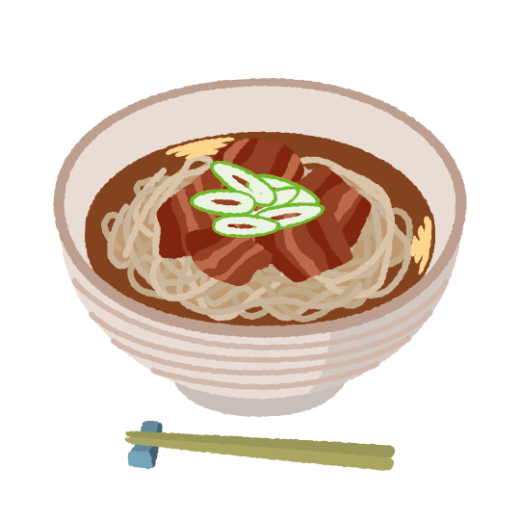 肉そばのイラスト(2カット)