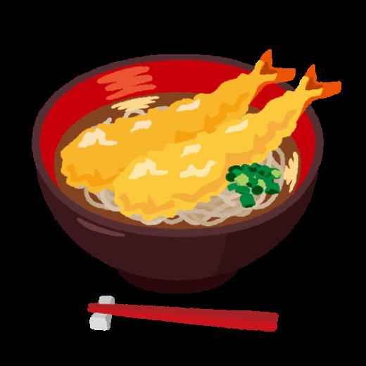 天ぷらそばのイラスト(2カット)