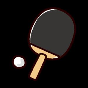 かわいい卓球のイラスト(ペンホルダー・ラケット)